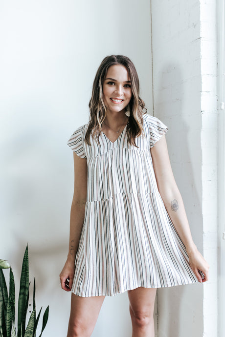 Naples Striped Baby Doll Dress