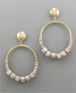 Addyson Wood Bead Disc Earrings