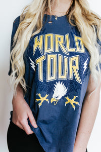 World Tour Graphic Distressed T-Shirt