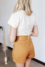 Load image into Gallery viewer, Mustard High Waist Linen Shorts