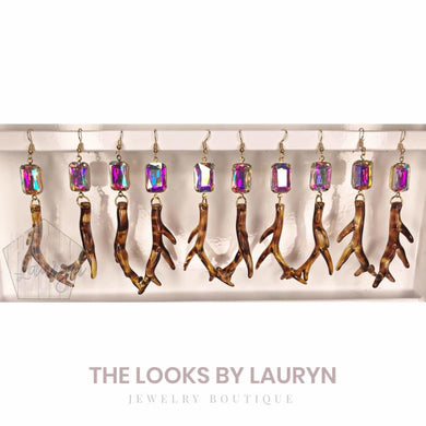 Antler Earrings with AB Crystal - The Looks by Lauryn