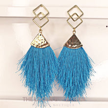 Load image into Gallery viewer, blue fringe earrings