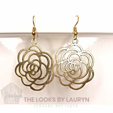 Brushed Gold Rose Shape Earrings - The Looks by Lauryn