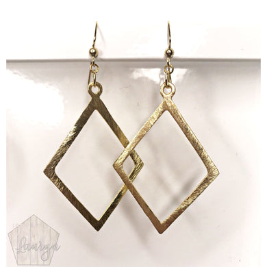 Brushed Metal Gold Diamond Shaped Earrings - The Looks by Lauryn
