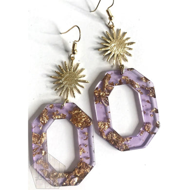 Gold Foil and Purple Octagon Earrings - The Looks by Lauryn
