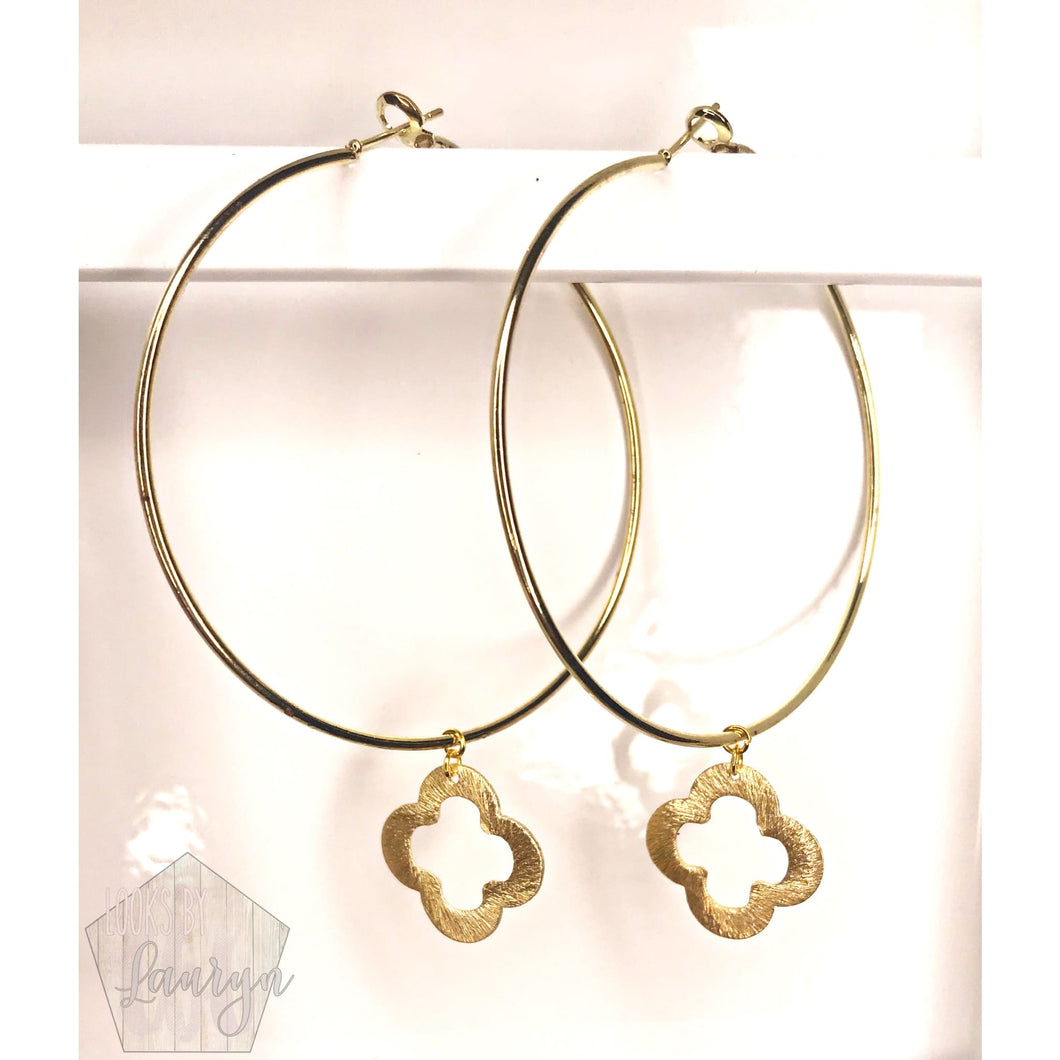 Gold Quatrefoil Hoops - The Looks by Lauryn