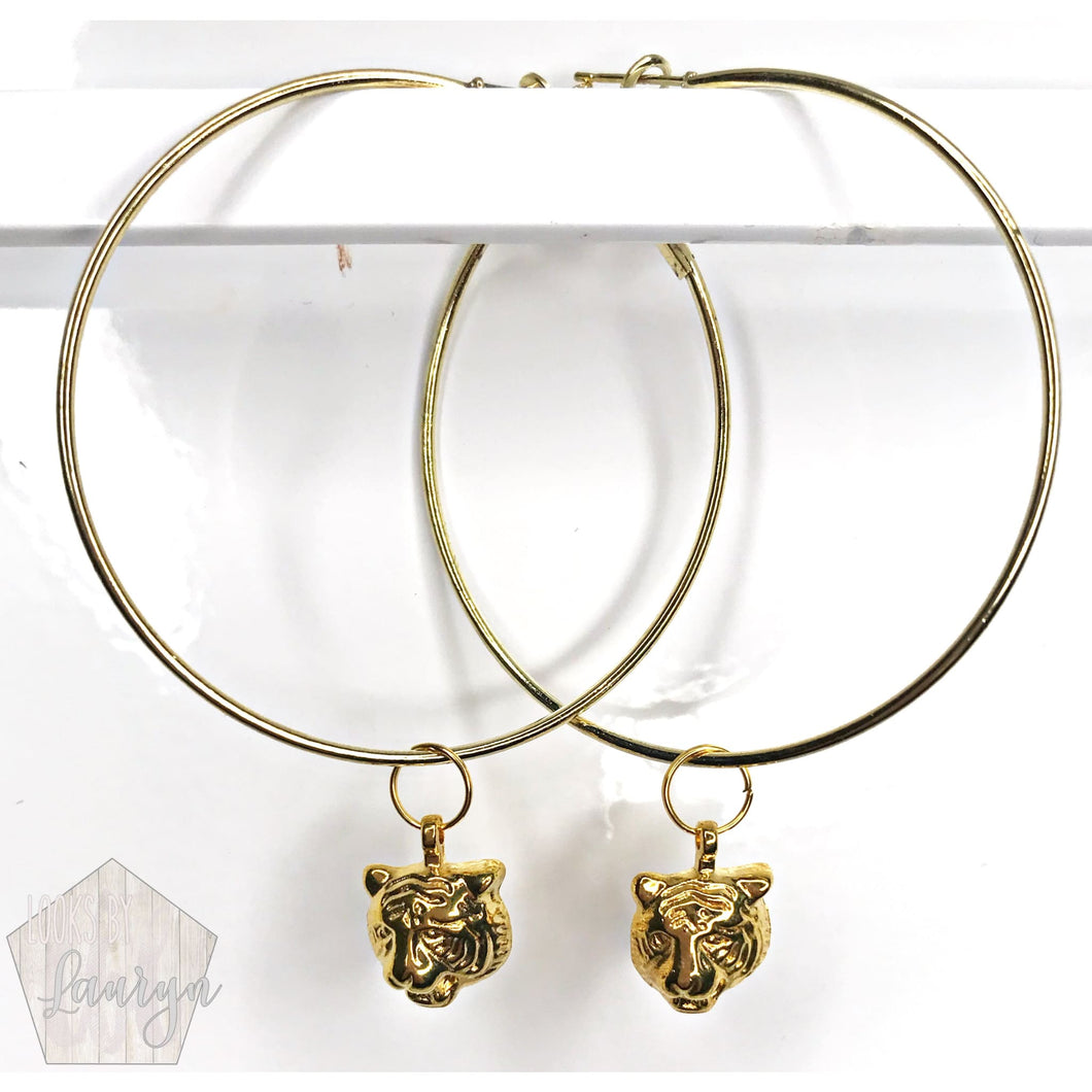 Gold Tiger Hoops - The Looks by Lauryn