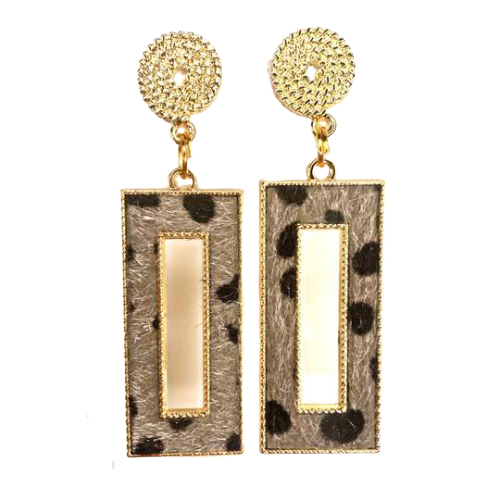 Grey Fur Leopard Earrings - The Looks by Lauryn