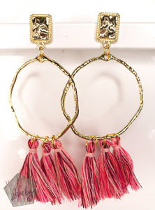 Pink Tassel Earrings on Hoop - The Looks by Lauryn