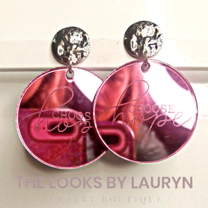 Pink Acrylic Earrings for Breast Cancer Awareness