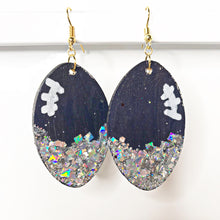 Load image into Gallery viewer, blue and silver football earrings - the looks by lauryn