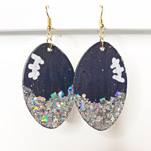 blue and silver football earrings - the looks by lauryn