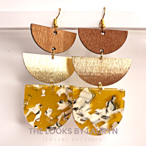 Mustard Semi Circle Earrings