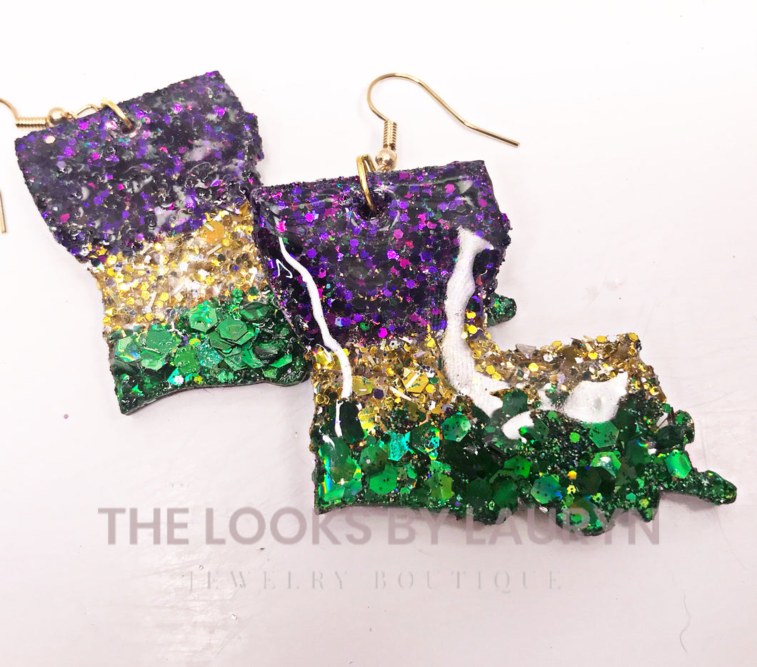 Handmade Mardi Gras Earrings Louisiana Stripes NA - The Looks by Lauryn