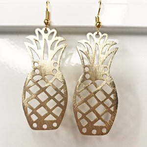 Brushed Gold Pineapple Earrings