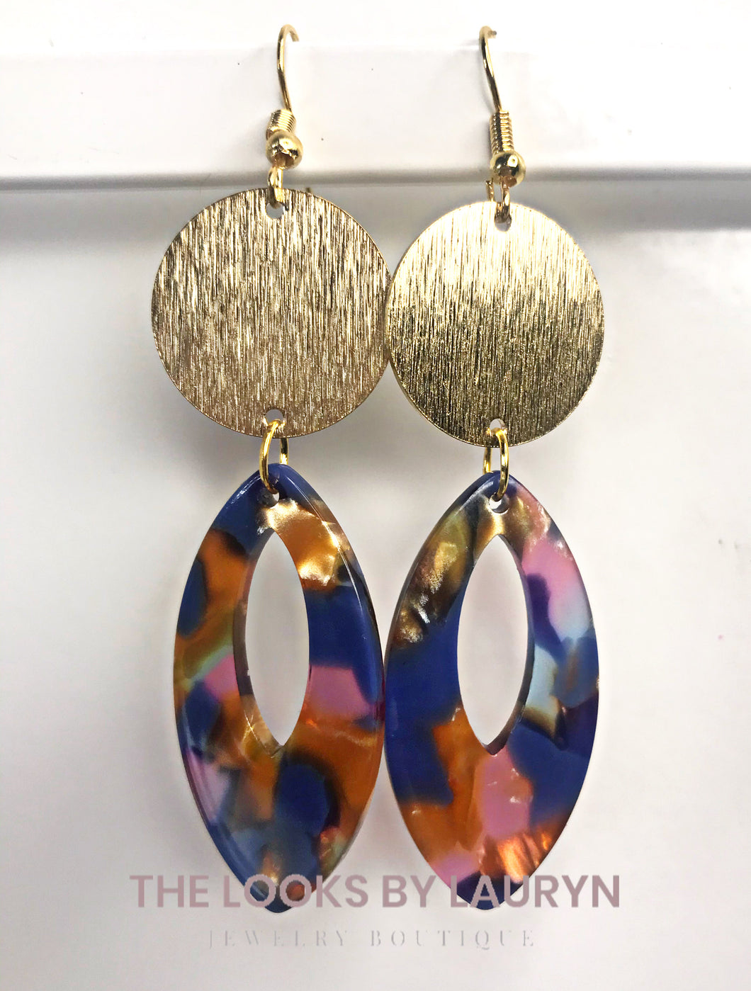 Fall Blue Teardrop Earrings