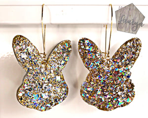 Gold Mirror Bunny Easter Earrings - The Looks by Lauryn