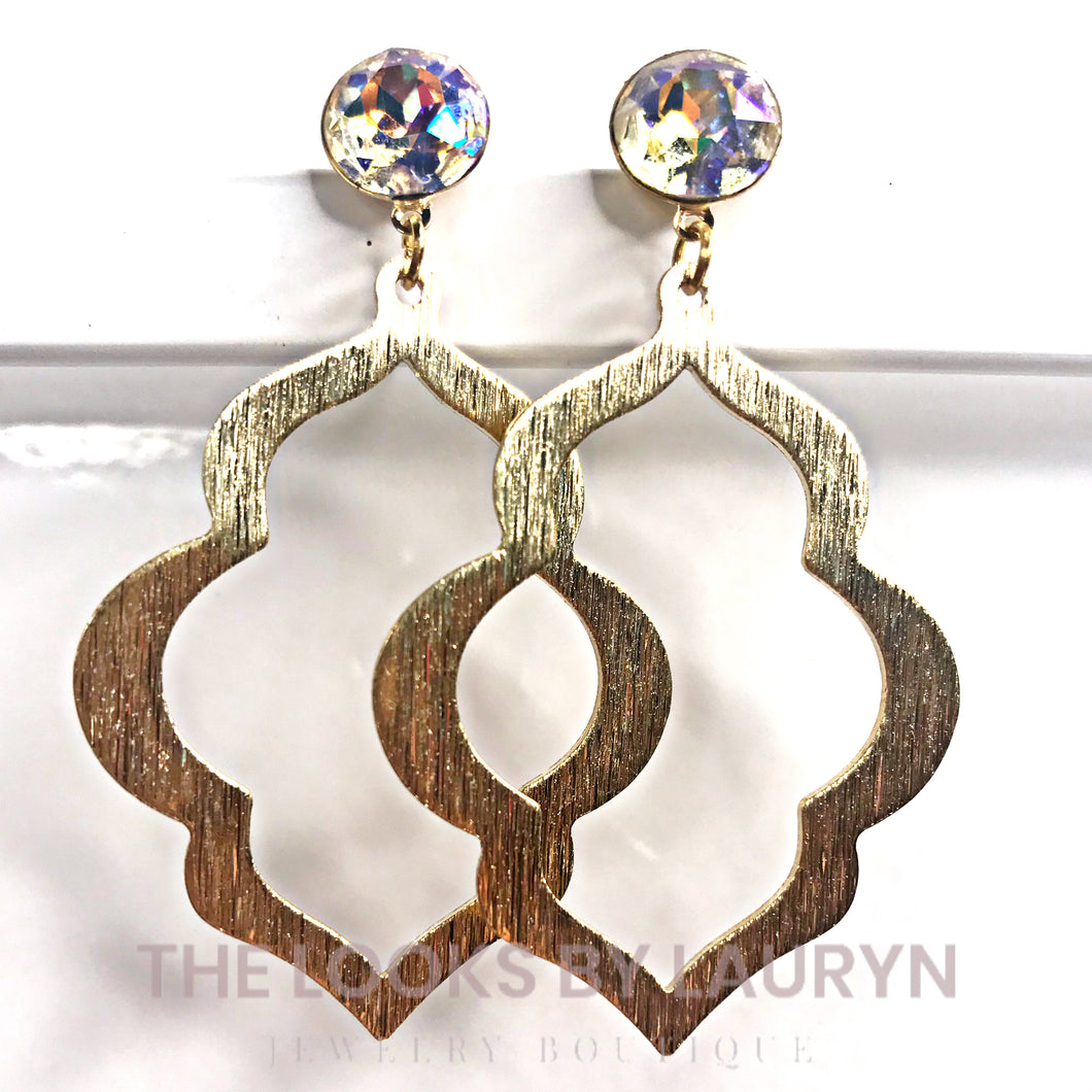 Brushed Gold Marquis Earrings with AB Crystal