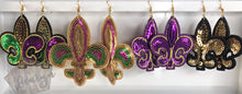 Load image into Gallery viewer, Sequin Fleur De Lis Earrings Gold and Purple - The Looks by Lauryn