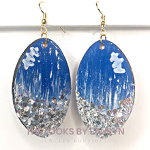 Load image into Gallery viewer, royal and silver football earrings - the looks by lauryn