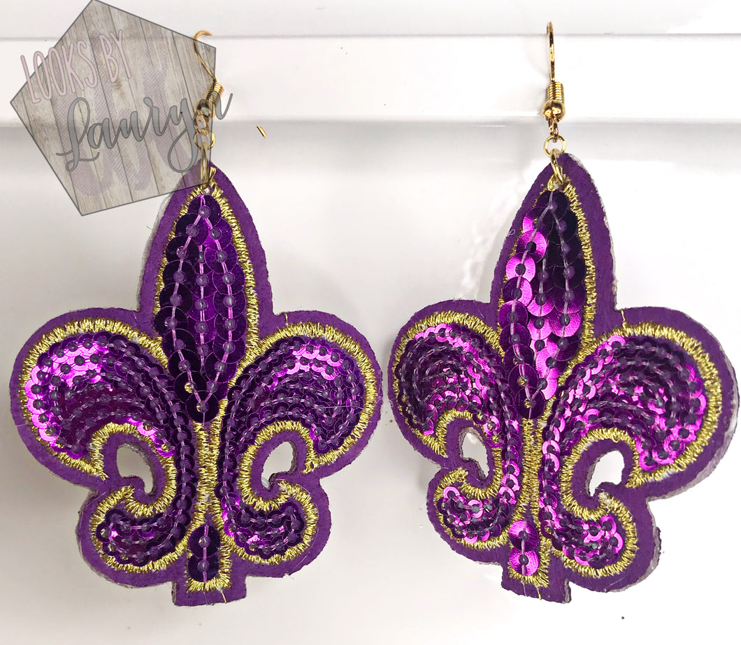 Sequin Fleur De Lis Earrings Gold and Purple - The Looks by Lauryn