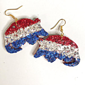 red white and blue armadillo earrings - the looks by lauryn