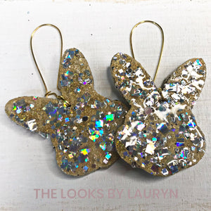 Gold Mirror Bunny Easter Earrings