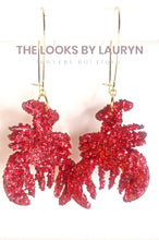 Load image into Gallery viewer, red glitter crawfish earrings