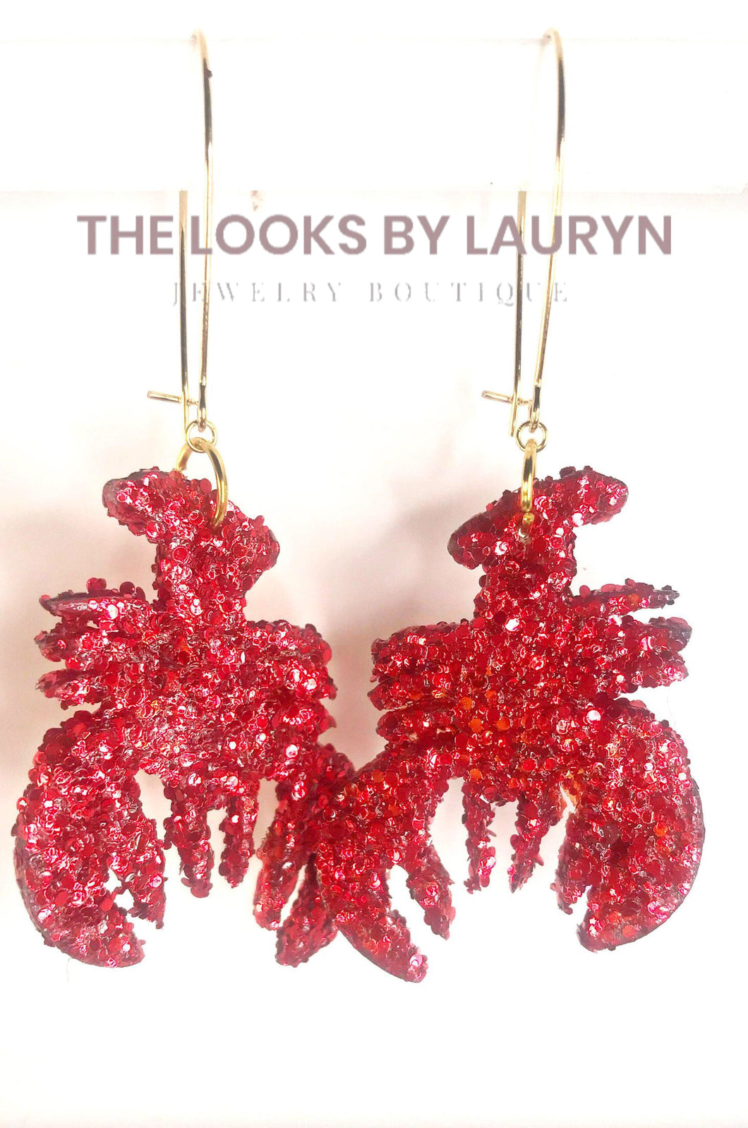 red glitter crawfish earrings
