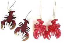 Load image into Gallery viewer, handmade crawfish earrings