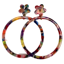 Load image into Gallery viewer, Multicolor Acetate Hoops with Flower Studs - The Looks by Lauryn