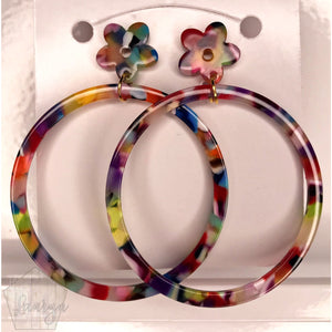 Multicolor Acetate Hoops with Flower Studs - The Looks by Lauryn