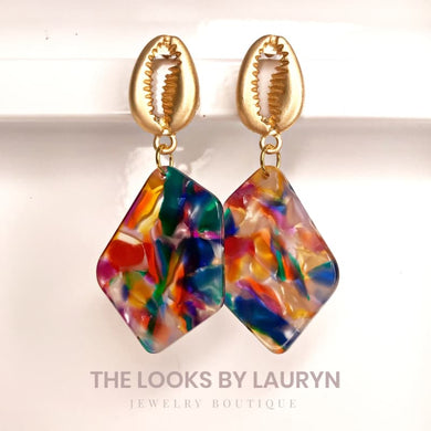 multicolored earrings with conch shell the looks by lauryn