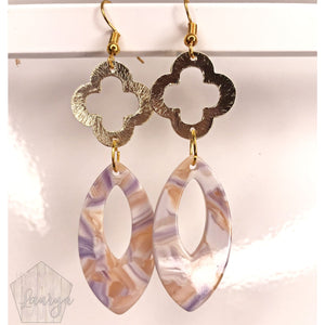 Muted Purple and Gold Clover Earrings - The Looks by Lauryn