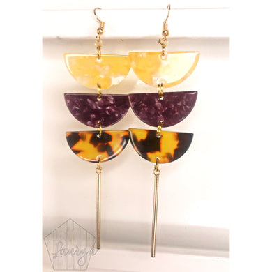 Purple and Gold Triple Dip Earrings - The Looks by Lauryn