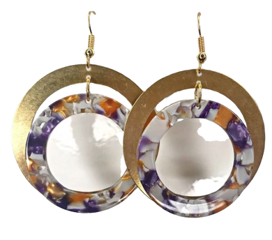 Purple and Gold Double Hoop Earrings - The Looks by Lauryn