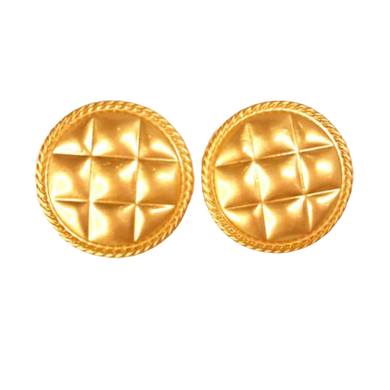 Quilted Gold Button Studs - The Looks by Lauryn