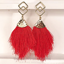 Load image into Gallery viewer, red fringe earrings