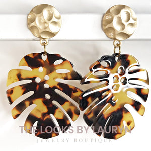 tortoise monstera earrings