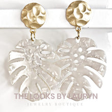 Load image into Gallery viewer, white monstera earrings