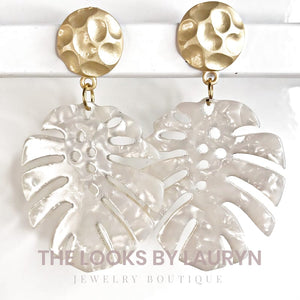 white monstera earrings