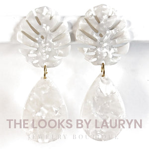White Acetate Monstera and Teardrop Earrings