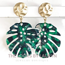 Load image into Gallery viewer, green monstera earrings