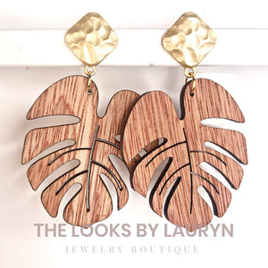 wooden monstera leaf earrings