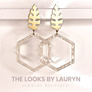 white acetate hexagon hoop earrings