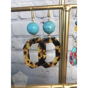 Tortoise and Turquoise Octagon Acetate Earrings - The Looks by Lauryn