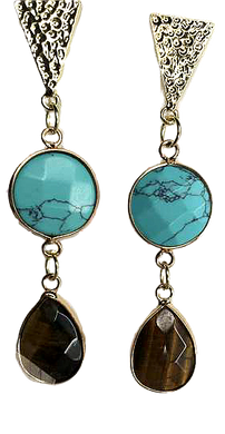 Turquoise and Brown Catseye Earrings - The Looks by Lauryn