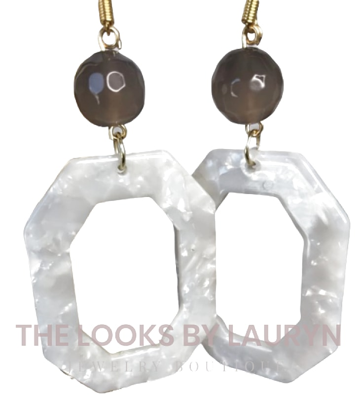 White Acetate Octagon Earrings - The Looks by Lauryn