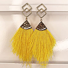 Load image into Gallery viewer, yellow fringe earrings