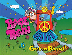 Original Cartoon Pop Art design inspired a classic rock song. Featuring a cartoon cat driving a Peace Train.